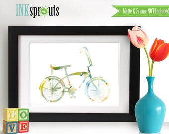 Watercolor Bicycle Print, Watercolor silhouettes, bike, vintage bicycle The places you'll go, Nursery Print, Transportation, Item  WC013B