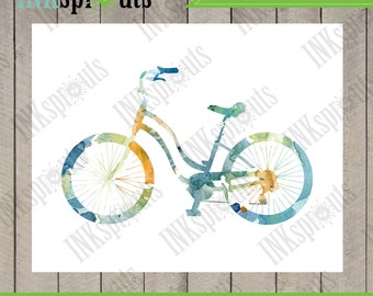 INSTANT DOWNLOAD - Watercolor Bicycle Print, Watercolor silhouettes, bike, vintage bicycle, Nursery Print, Transportation, Item  WC014A
