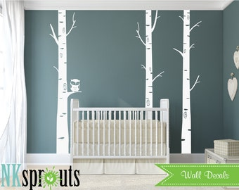 Birch with owl decal, 3 birch tree set, winter birch trees, Nursery decal, Owl decal, Sleeping owl, Baby shower