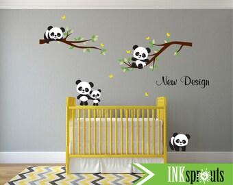 Panda Decal Room, Cute panda decal, Sleeping panda, Panda on Branches, Modern Nursery, Nursery decals, Baby Decals, Woodland theme