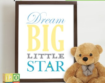 Elephant Print, Twinkle star, Nursery Print quote, Dream Big print,   Item 003