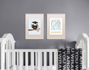 Owl Print Set, Alphabet Print with Name, Custom Name, Birthdate, Owl Nursery, Owl family, Nursery Print, Item 036