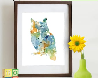 Watercolor Owl Print, Watercolor silhouettes, woodland animals, Birds, Nursery Print, Forest animals, ItemWC030