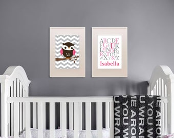 Owl Print Set, Alphabet Print with Name, Custom Name, Birthdate, Owl Nursery, Owl family, Nursery Print, Item 038
