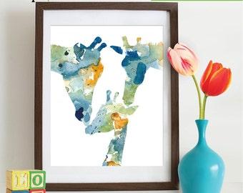 Watercolor Giraffe Family Print, Watercolor silhouettes, Safari animals, Cute giraffe , africa,  Nursery Print, animals
