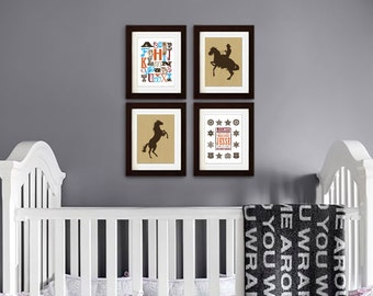 Cowboy Nursery print set, Cowboy, Wanted poster with custom name, Cowboy Alphabet, Horse, Alphabet, Nursery Print, Boys room, Item 087