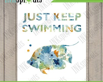 INSTANT DOWNLOAD - Watercolor Just keep swimming Print, Watercolor silhouettes, Fish, Nemo, Beach theme, Under the Sea, Item  WC005