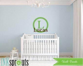 Monogram Name Decal, Circle frame monogram, Monogram decal, Boys room, Babys Name monogram, Classic, Modern Nursery, Nursery decals