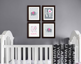 Elephant Nursery Print, Nursery Print, Chevron print, Elephant family print, Alphabet, Cute Elephant, love, Custom name, Item 051
