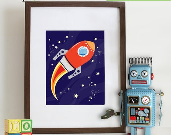 Rocket print, Space print, Space ship print, To infinity and beyond, Outspace print, Item 005