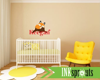 Sleeping fox with custom name,  forest friends,  Cute fox decal, Woodland Theme Nursery, Fox Nursery, Nursery Decal, Sleeping fox on log