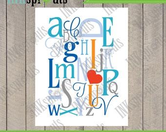 INSTANT DOWNLOAD, Alphabet print, I heart you, typography, modern nursery print, nursery print, Item 022D
