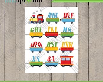 INSTANT DOWNLOAD, Alphabet Train print, Train download, Alphabet download, typography, modern nursery print, nursery print, Item 089D