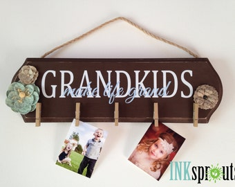 Grandkids Wood Panel sign, make life grand, Grandkids photo holder, Grandparents, Christmas present, Family Sign, Wood Plaque,