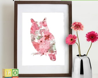 INSTANT DOWNLOAD - Watercolor Owl Print, Watercolor silhouettes, woodland animals, Birds, Nursery Print, Forest animals, ItemWC030