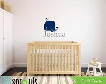 Cute Whale with Name Decal, whale, Whale family, Nautical decal , Orca, Sea, Under the sea, Modern Nursery, Nursery decals, Baby Decals,