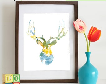 Watercolor Buck Deer Print, Watercolor silhouettes, deer, woodland animals, Birch, Nursery Print, Forest animals, Item  WC016B