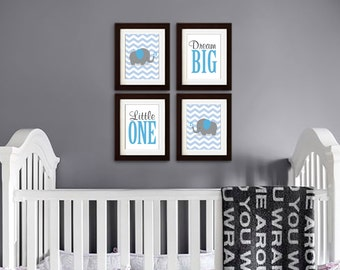 Elephant Print, Nursery Print, Chevron print, Elephant family print, Safari print, Dream Big. Little one, love print, Item 046