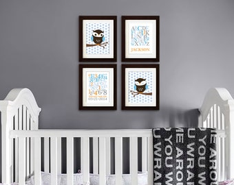 Owl Print Set, Alphabet Print with Name, Custom Name, Birthdate, Owl Nursery, Owl family, Nursery Print, Item 035