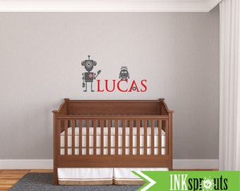 Robot Decal with name, Gears and Robots, Boys room robot decal, space, Outerspace, Modern Nursery, Nursery decals, Baby Decals,