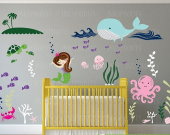 Under the sea Mermaid Decal, Large ocean animal scene, Anchor Nautical decal set, Nautical decal,  Modern Nursery, Nursery decals