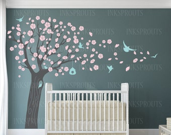 Blowing Blossom Tree decal with birds, 4 tree Birch set, Spring blossom tree,birds, flying birds decal, Nursery decals,Baby Decals