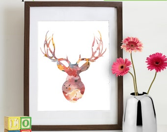 Watercolor Buck Deer Print, Watercolor silhouettes, deer, woodland animals, Birch, Nursery Print, Forest animals, Item  WC016C