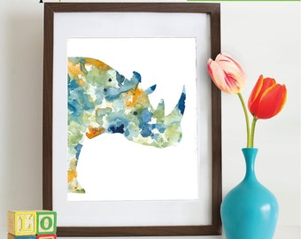 INSTANT DOWNLOAD - Watercolor Rhino Print, Watercolor silhouettes, Safari animals , africa,  Nursery Print, animals, ItemWC043
