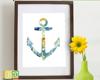Watercolor Anchor Print, Watercolor silhouettes, Boat, Ship, Beach theme, Nursery Print, Nautical, Under the Sea, Item  WC010A