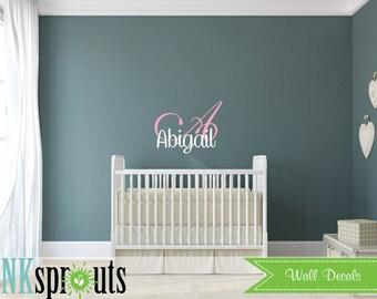 Custom Name Decal, Monogram, Princess decal, Girls room, Babys Name,Classic, Simple, Modern Nursery, Nursery decals, Baby Decals,