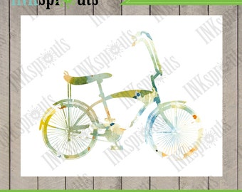 INSTANT DOWNLOAD - Watercolor Bicycle Print, Watercolor silhouettes, bike, vintage bicycle, Nursery Print, Transportation, Item  WC013B