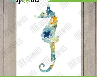 INSTANT DOWNLOAD - Watercolor Seahorse Print, Watercolor silhouettes, Beach theme, Nursery Print, Ocean print, Under the Sea, Item  WC002