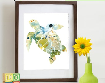 Watercolor Sea Turtle Print, Watercolor silhouettes, Sea Life, Beach theme, Nursery Print, Ocean print, Under the Sea, Item  WC008B