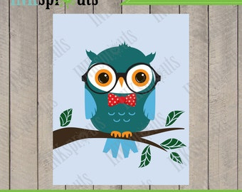 INSTANT DOWNLOAD, Owl print, hipster owl, owl wearing glasses, bowtie, nursery owl, printable nusery art, Item 043D
