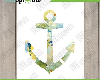 INSTANT DOWNLOAD - Watercolor Anchor Print, Watercolor silhouettes, Ship, Beach theme, Nursery Print, Nautical, Under the Sea, Item  WC010B