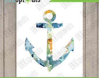 INSTANT DOWNLOAD - Watercolor Anchor Print, Watercolor silhouettes, Ship, Beach theme, Nursery Print, Nautical, Under the Sea, Item  WC010A
