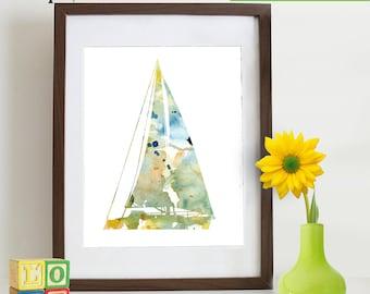 Watercolor Sailboat Print, Watercolor silhouettes, Boat, Beach theme, Nursery Print, Ocean print, Under the Sea, Item  WC009B