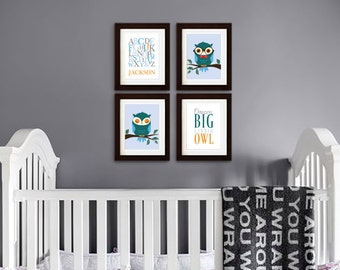 Owl Print Set, Alphabet Print with Name, Custom Name, Dream Big, Owl Nursery, Owl family, Nursery Print, Item 086