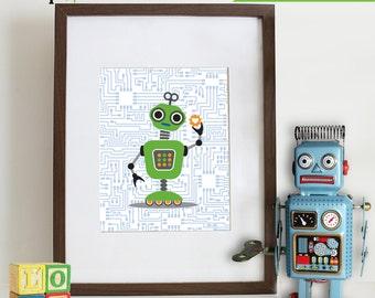 Robot Prints, Andriod, Circuit print, Robots, boys room, Nursery Prints, Robot art, Item 028