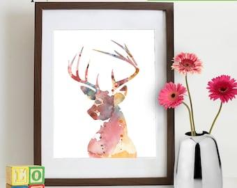 Watercolor Buck Deer Print, Watercolor silhouettes, deer, woodland animals, Birch, Nursery Print, Forest animals, Item  WC015C