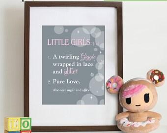 Little Girls Are print, Quote, Little girl quote, Girls have sparkle, Girls noun, Modern nursery art, Princess print,  Item  107