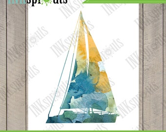 INSTANT DOWNLOAD - Watercolor Sailboat Print, Watercolor silhouettes, Boat, Beach theme, Nursery Print, Under the Sea, Item  WC009A