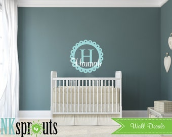 Monogram Name Decal, Scallop emblem, Monogram decal, Girls room, Babys Name monogram, Classic, Modern Nursery, Nursery decals, Baby Decals
