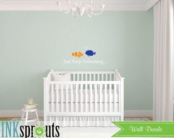 Just Keep Swimming Decal, Under the sea Decal,  Whale family, Nautical decal,  Modern Nursery, Nursery decals