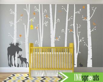 Birch Forest Decal with Moose,7 Birch decal, birch tree set, Moose baby, Modern Nursery, Nursery decals, Baby Decals, Woodland theme