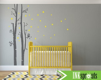 Birch Decal with Butterflies ,2 Birch decal, birch tree set, Birch forest,Nusery Birch trees, Modern Nursery, Nursery decals, Baby Decals