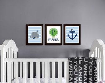 Whale Nursery Print, Custom name, Sea animal, nautical, Ocean, Sea, Cute Whale, Nursery prints, under the sea, Custom name, Item 0126