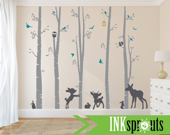 Featured listing image: Birch Decal with Woodland Animals ,5 Birch decal, fawn, moose,bunnies, birch tree set, Birch forest,Nusery, Modern Nursery, Nursery decals