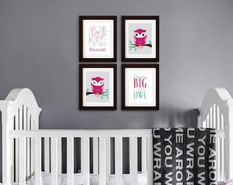 Owl Print Set, Alphabet Print with Name, Custom Name, Dream Big, Quote, Owl Nursery, Owl family, Nursery Print, Item 086