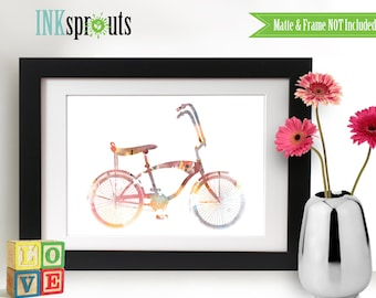 Watercolor Bicycle Print, Watercolor silhouettes, bike, vintage bicycle The places you'll go, Nursery Print, Transportation, Item  WC013C
